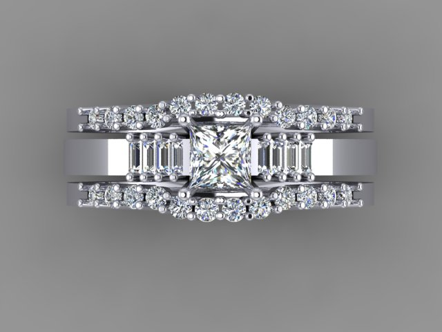 Princess cut diamond ring with baguettes on the sides with two diamond wedding bands on the side