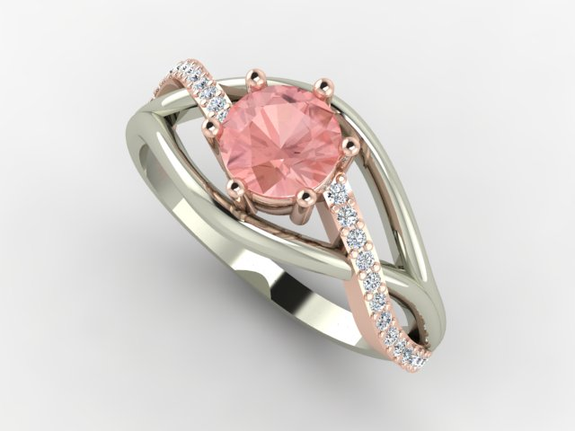 Rose and white gold morganite ring with small diamonds