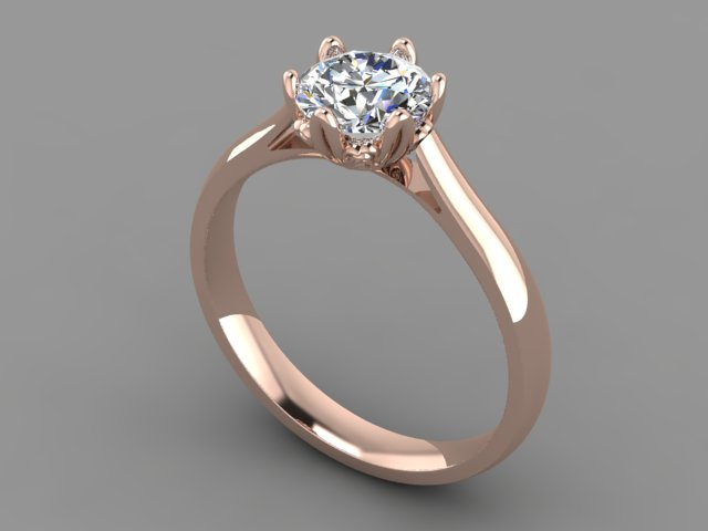 Rose gold 6 claw round diamond engagement ring