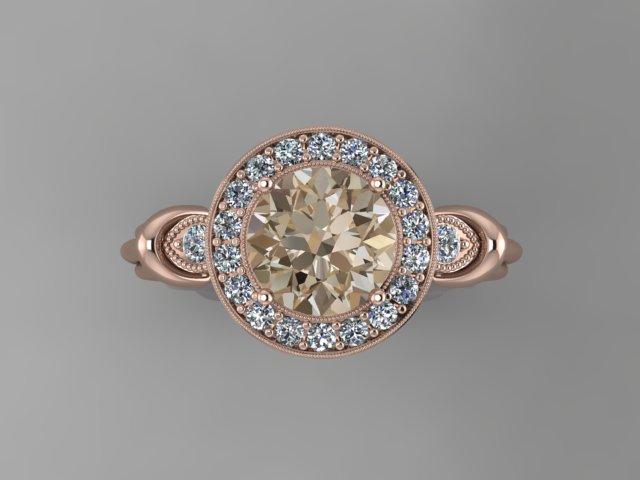 Rose gold diamond engagement ring with milgraine