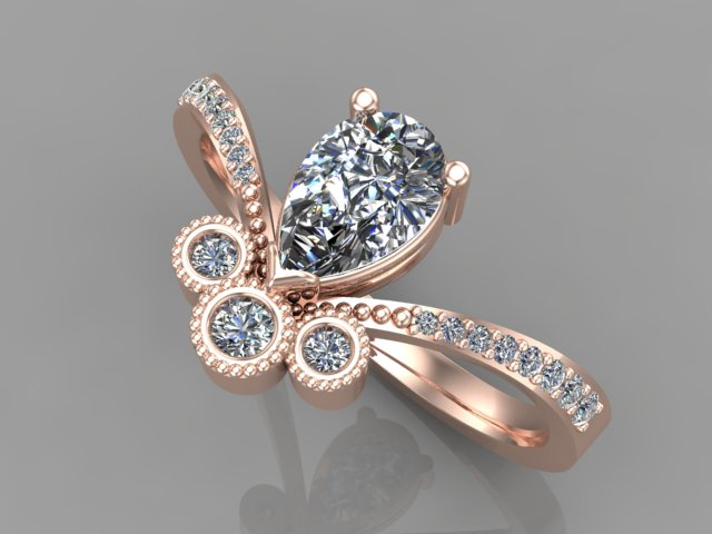 Rose gold diamond ring with pear shape diamond as centre stone and 3 round brilliant cut diamonds in tube setting