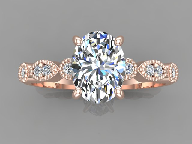 Rose gold engagement ring with oval cut diamond as centre stone