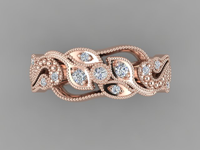 Rose gold organic engagement ring with diamonds and millgraine