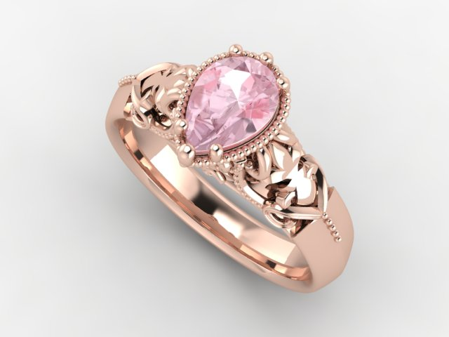 Rose gold ring with a pear shape morganite