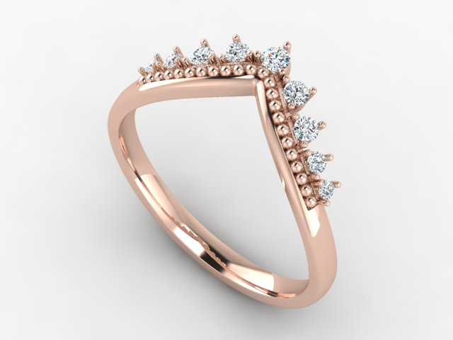 Rose gold v-shape wedding band with diamonds and milgraine
