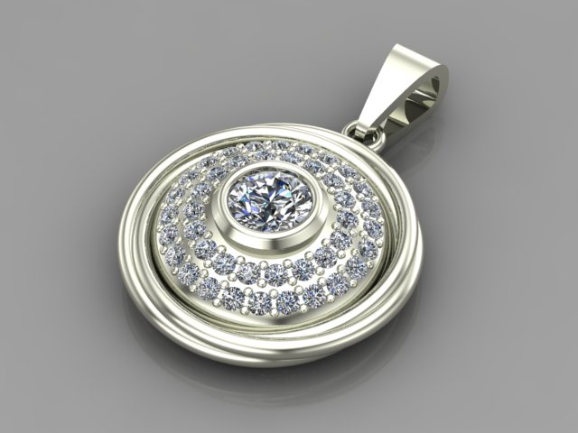Whie gold diamond pendant with double halo