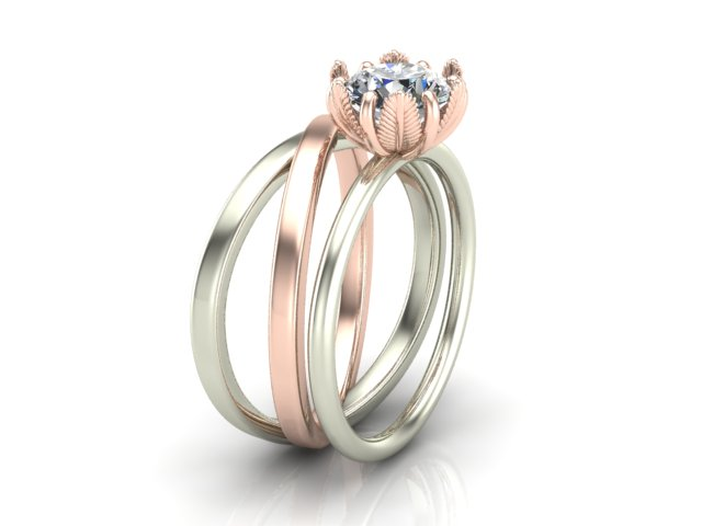 White and rose gold diamond engagement ring with leave prongs