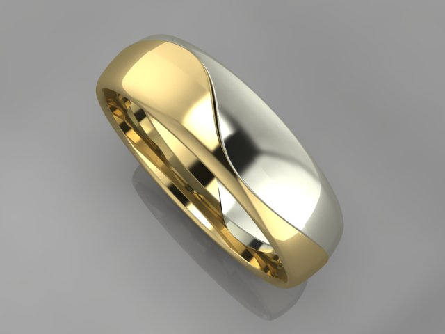 White and yellow gold men wedding band