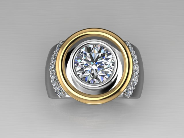 White and yellow gold ring with diamond in bezel setting