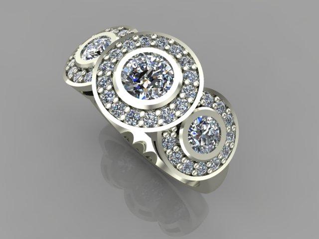 White gold 3-halo diamond engagement ring
