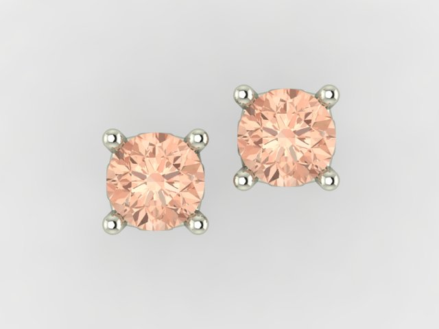 White gold 4 claw stud earrings with morganites
