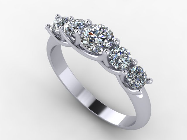White gold 5 stone engagement ring with round brilliant cut diamonds