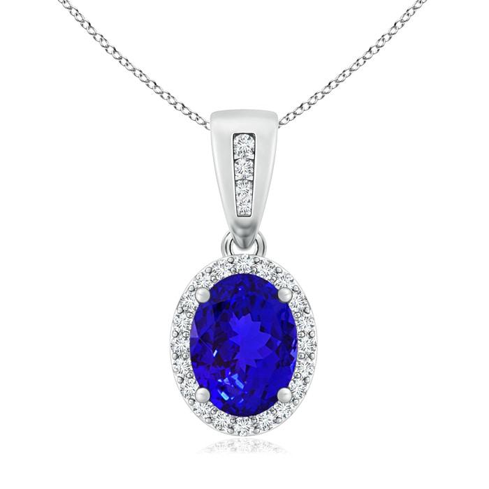 White gold Halo pendant with Tanzanite and diamonds