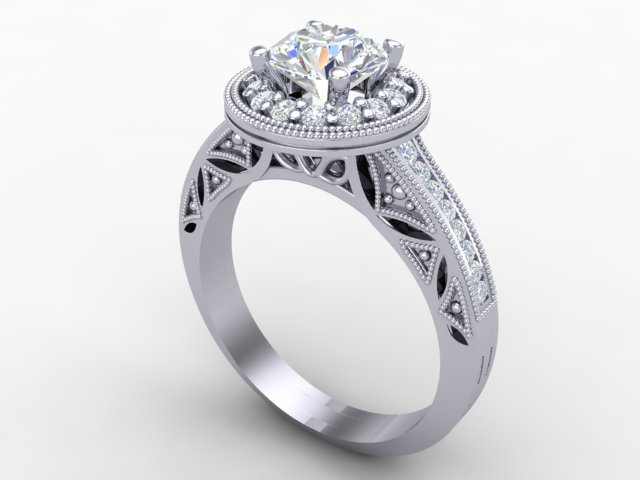White gold cushion cut diamond engagement ring ring with details