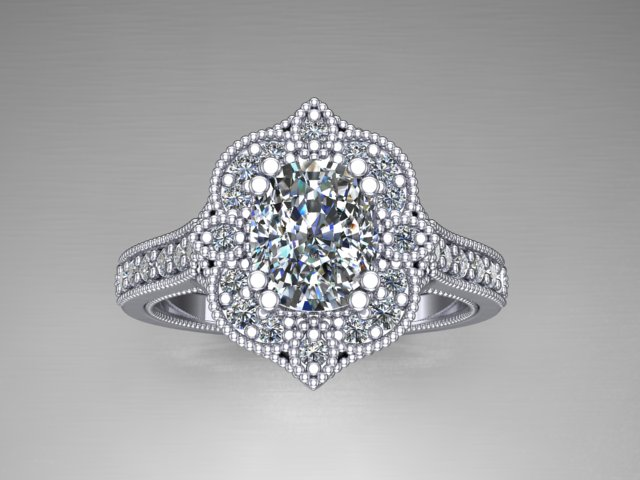 White gold diamond engagement ring with cushion cut diamond