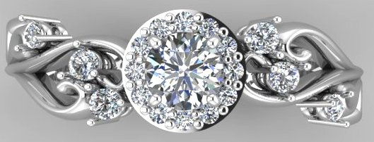 White gold diamond engagement ring with halo