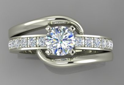 White gold diamond engagement ring with smaller diamonds in bright cut pave setting on both sides