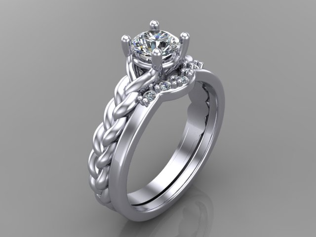 White gold diamond engagement ring with twisted band