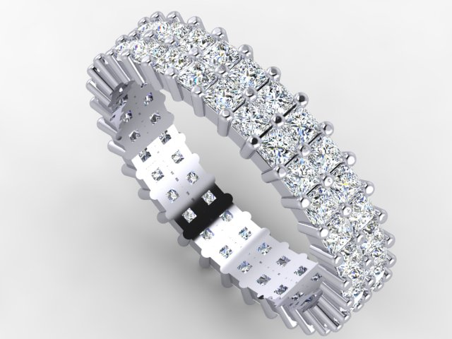 White gold double row eternity band with princess cut diamonds