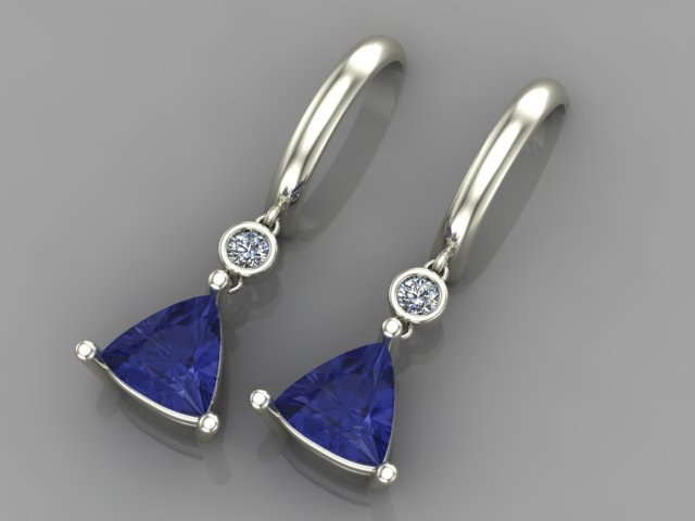 White gold drop earrings with diamonds and trilliant tanzanites