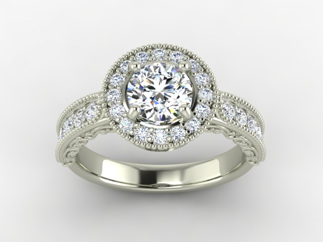 White gold engagement ring with halo and diamonds