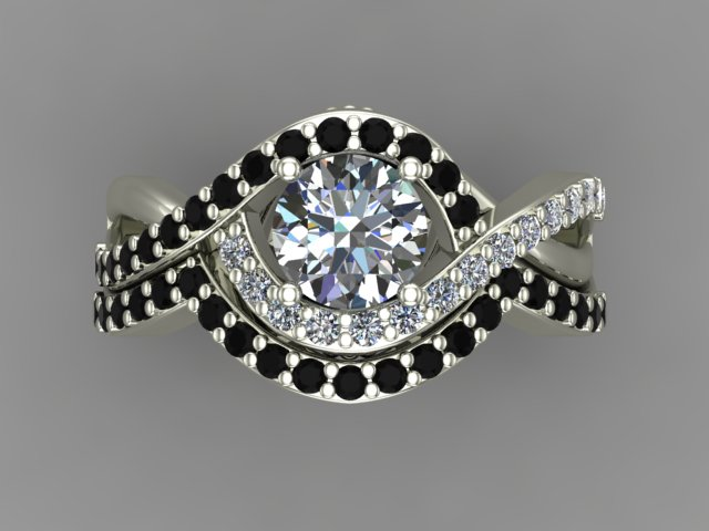 White gold fancy engagement ring with white and black diamonds