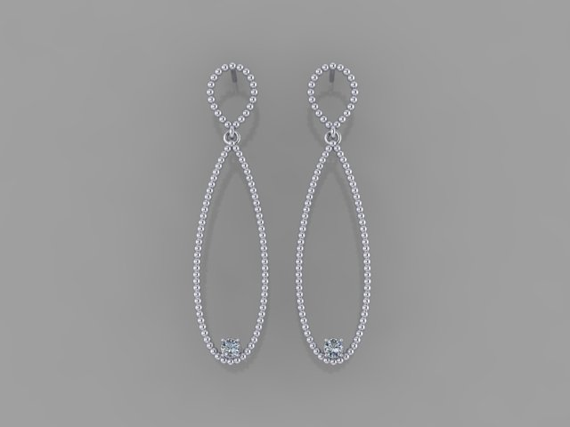 White gold milgraine drop earrings with diamonds
