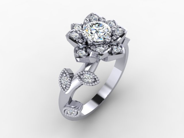 White gold organic engagement ring with diamonds