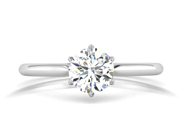 White gold round diamond solitaire engagement ring