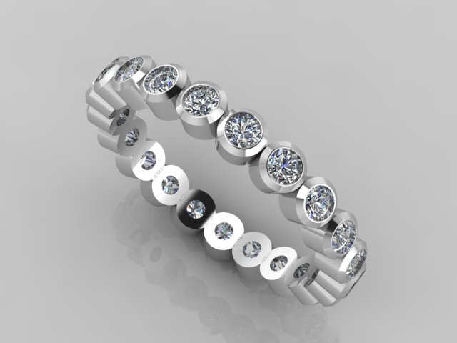 White gold round tube diamond full eternity band