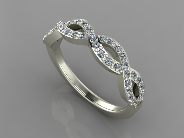 White gold twisted diamond wedding band