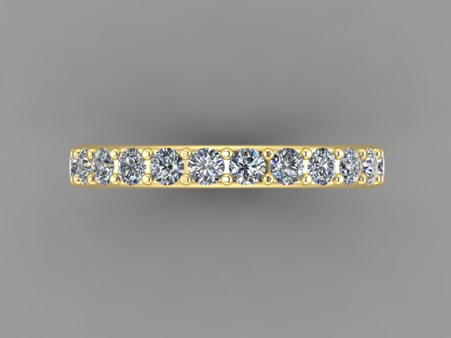 Yellow gold half eternity diamond eternity band