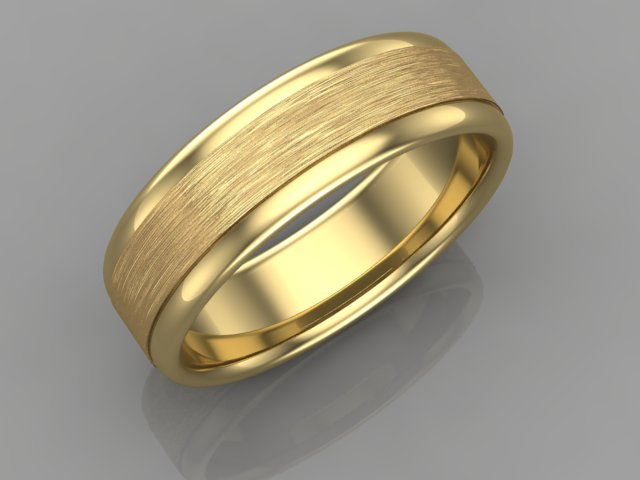 Yellow gold men wedding band