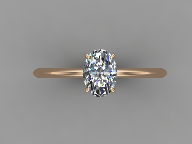 Yellow gold solitaire engagement ring with oval cut diamond