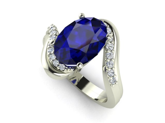 Fancy shape Tanzanite white gold engagement ring with small diamonds