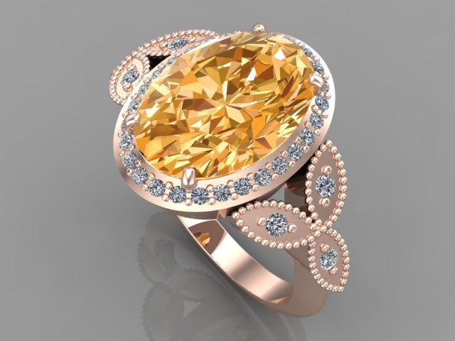 Rose gold engagement ring with cetrine gemstone and diamonds