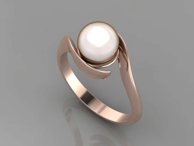 Rose gold engagement ring with round pearl