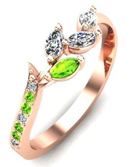 Rose gold peridot and diamond engagment ring