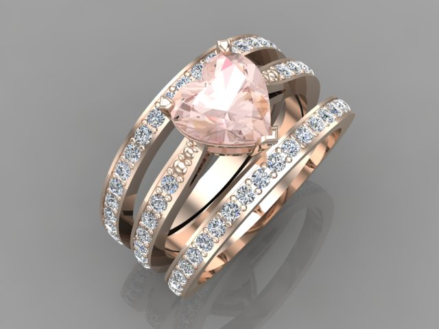 Rose gold ring with diamonds and heart shape morganite stone