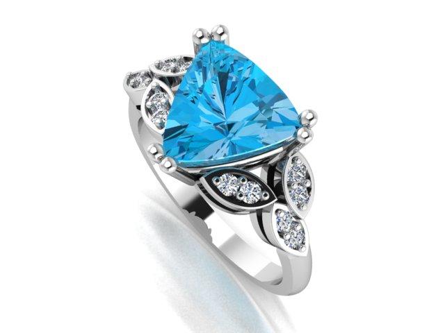 Trilliant cut Blue topaz organic white gold ring