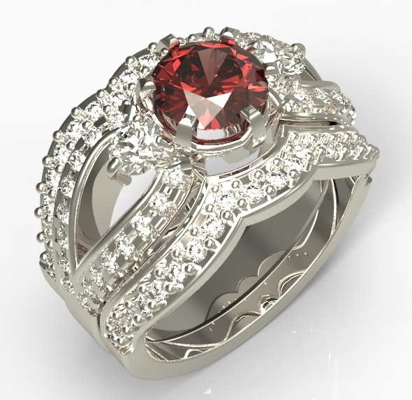 White gold diamond and ruby engagement ring with scallops