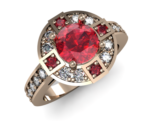 White gold ring with garnets and diamonds